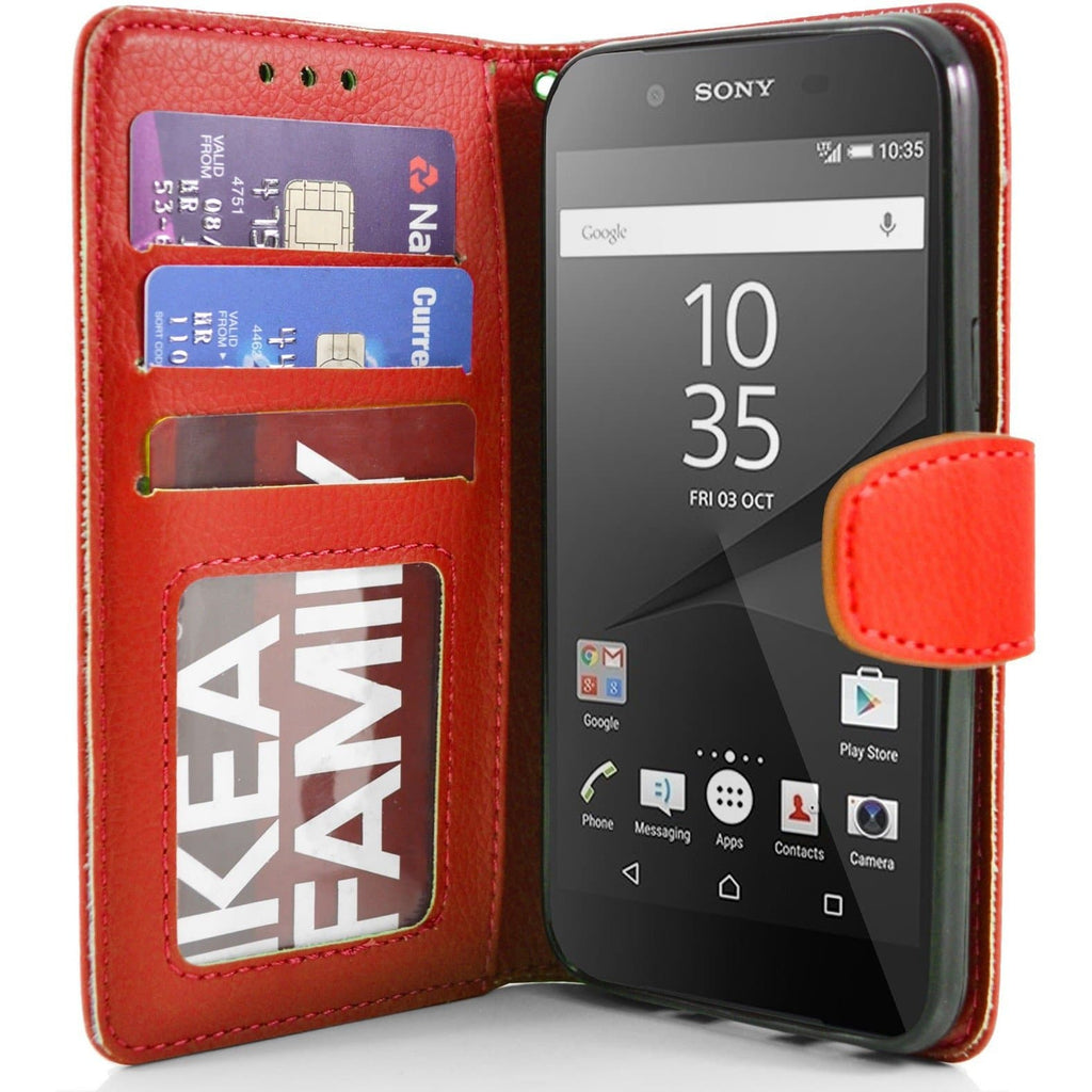 Sony Xperia Z5 PU Leather Wallet Case - Red