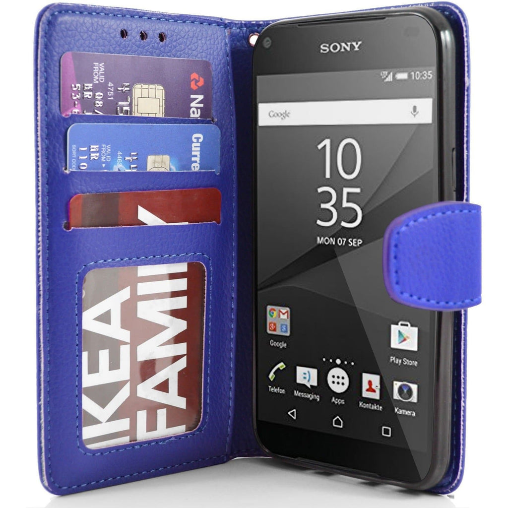 Sony Xperia Z5 Compact PU Leather Wallet Case - Blue