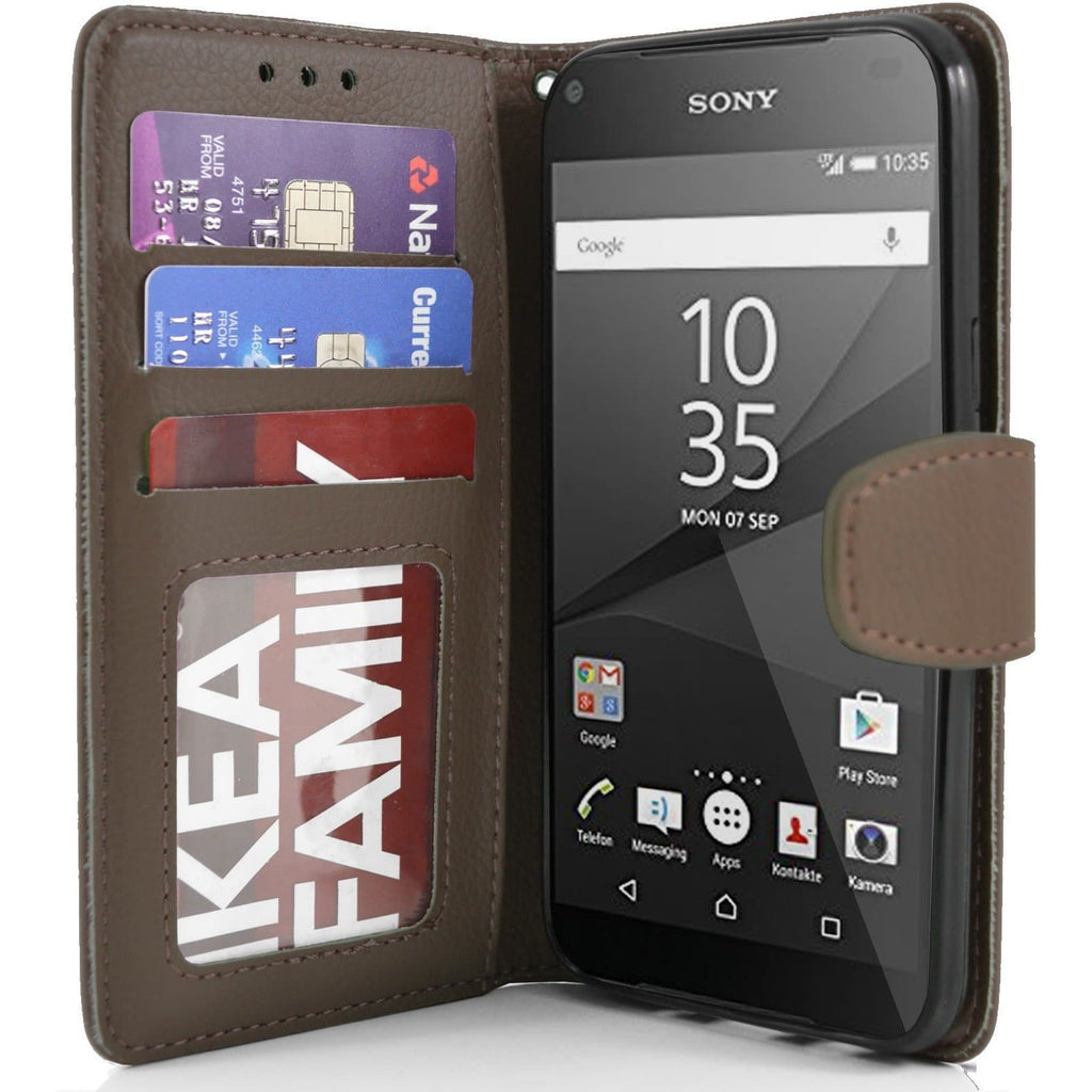 Sony Xperia Z5 Compact PU Leather Wallet Case - Brown