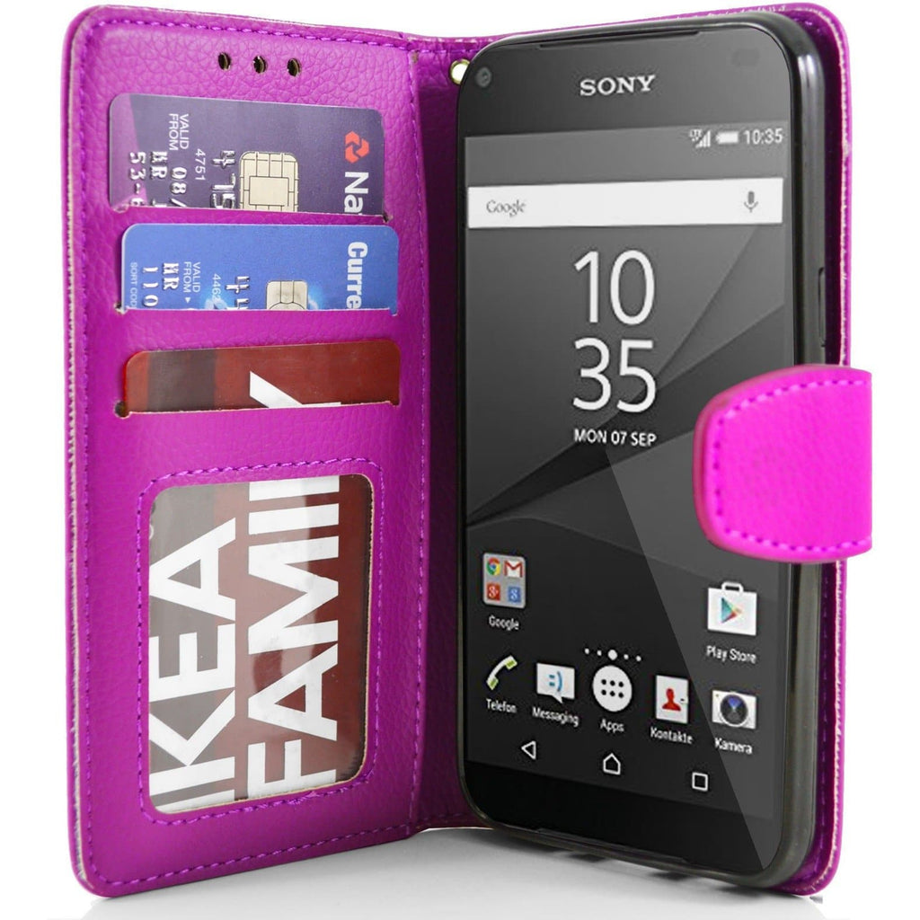 Sony Xperia Z5 Compact PU Leather Wallet Case - Pink