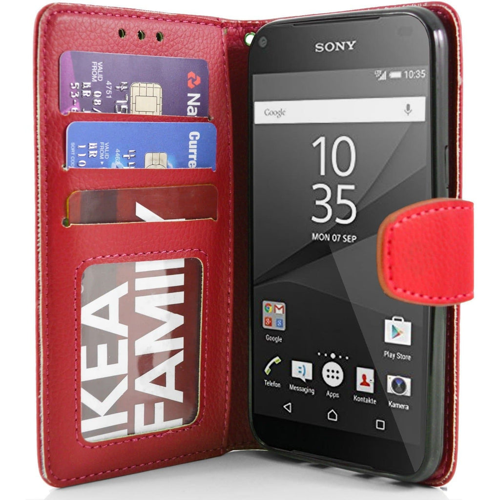 Sony Xperia Z5 Compact PU Leather Wallet Case - Red