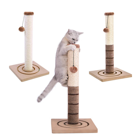 three scratching posts with a cat on the middle one
