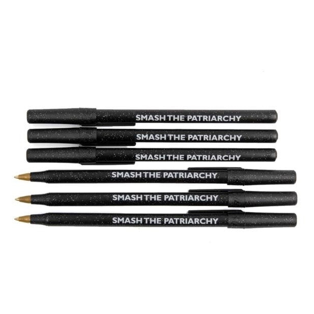 Smash the Patriarchy Black Sparkle Feminist Ballpoint Pen Pack - 6 Pens
