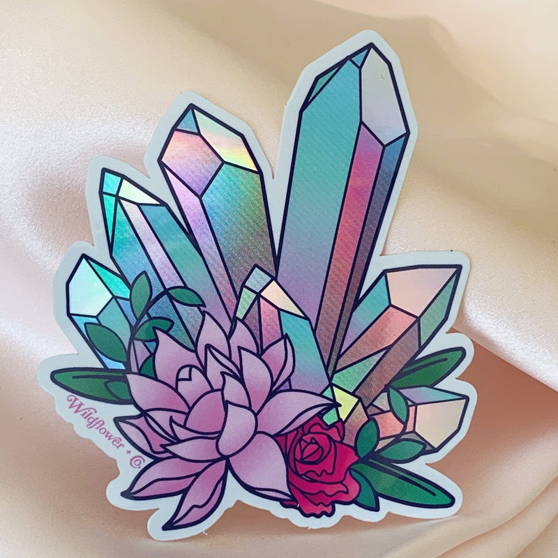 Crystal Cluster Holographic Sticker