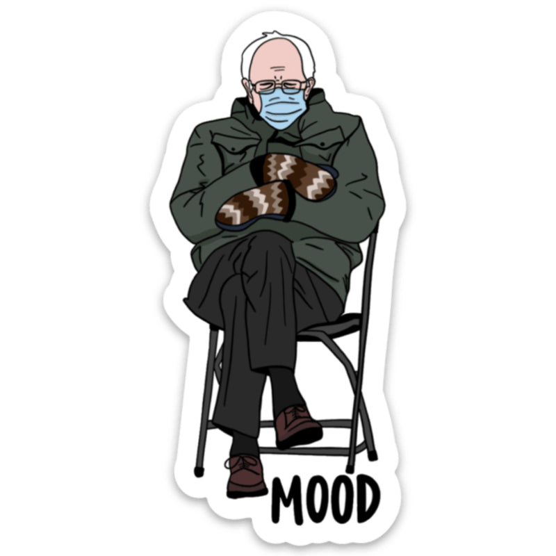 Bernie Wearing Mittens Mood Vinyl Sticker
