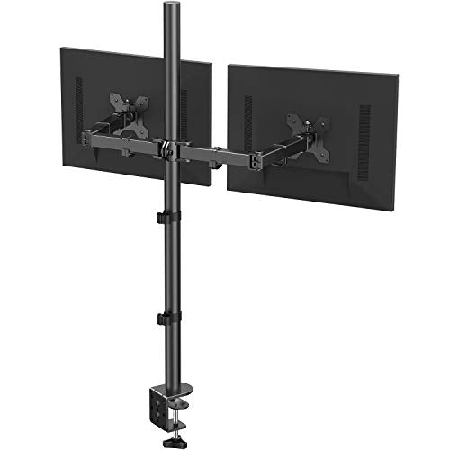 HNCM10-1 Dual Monitor Stand with Extra Tall Pole 39.37 inch, Fully Adjustable Monitor Mount