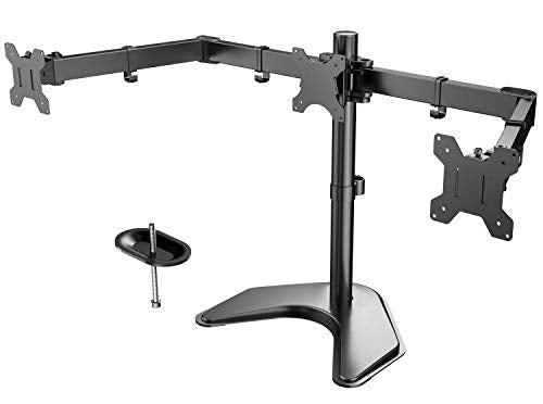 HNCM6 Triple Monitor Stand Freestanding Adjustable for 13-24 Inch Screens