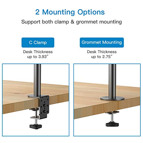 HNHM1 Vertical Dual Monitor Stand Fit 13-27 Inch
