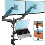 HN-TS4B Dual Monitor Stand for Two 13 to 27 Inch Computer Screens and 10 to 17 Inch Notebooks