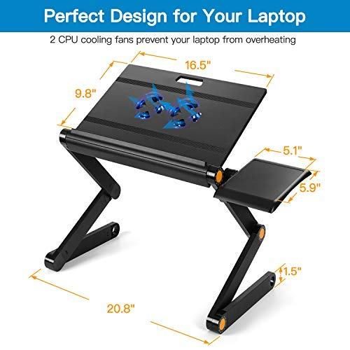 HNLA8 Foldable Laptop Table Stand with 2 CPU Cooling Fans