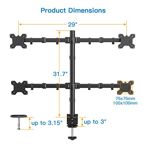 HNQF2 Quad Monitor Desk Mount Adjustable for 13-27 Inch Screens