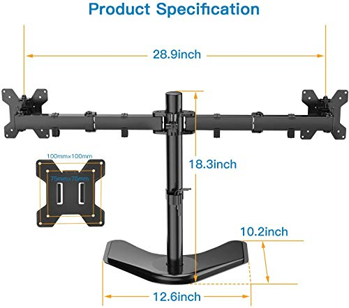 HNCM4 Dual Monitor Stand with Swivel & Tilt Arms for 13-27 Inch Screens