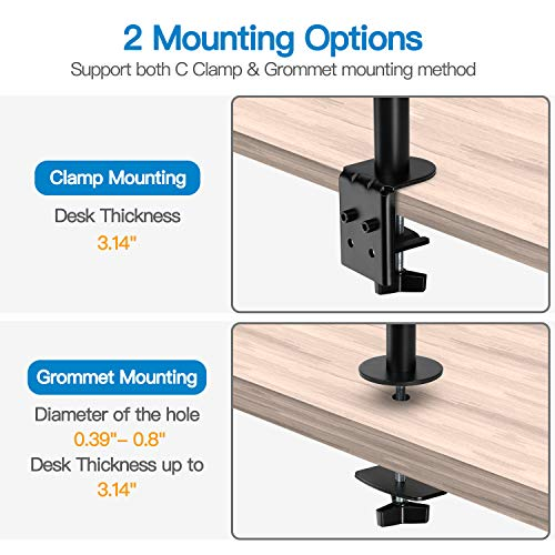 HNHM5 Dual Monitor Stand - Vertical Stack Screen Support Two 17 to 32 Inch Monitors
