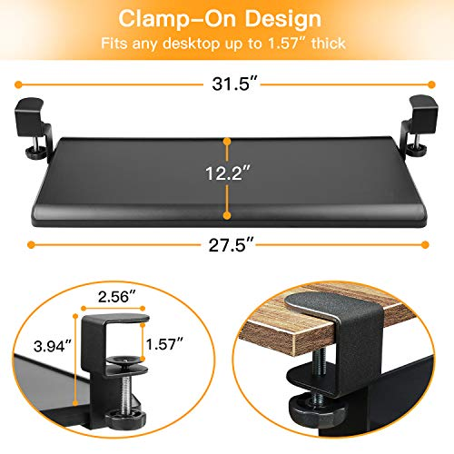 HNKB01 Keyboard Tray Under Desk with C Clamp-Large Size, Steady Slide Keyboard Stand