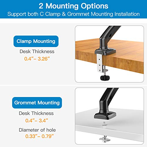 HNSSK4 Adjustable Single Monitor Stand with Gas Spring Arm for 13-27 Inch Screens