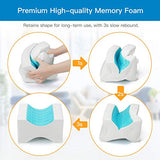 HNKP1 Knee Pillow for Side Sleepers - Memory Foam Leg Pillow for Sleeping with Extra Cover Wedge Contour