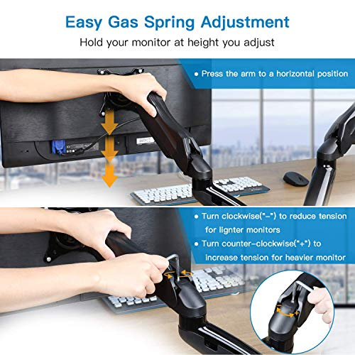 HNDS6 Gas Spring Dual Monitor Arm Mount for 13-27 Inch