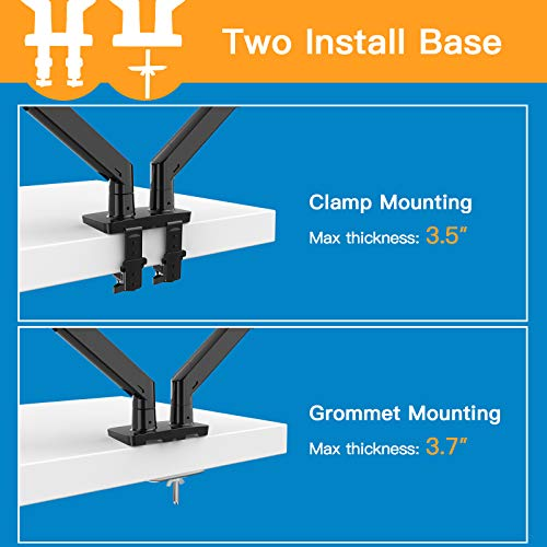 HNDS12 Dual Monitor Stand - Double Gas Spring Arm Mount for Two 35 inch Screens