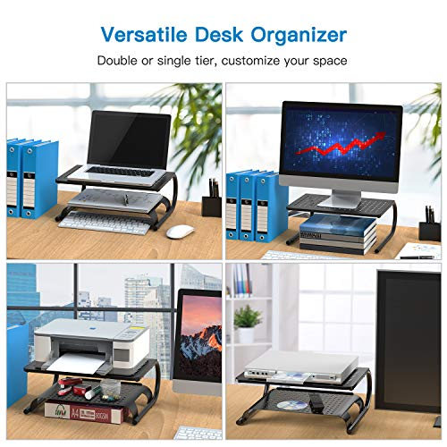 HNLL2D Monitor Stand Riser with Vented Metal Base Versatile as Storage Shelf & Screen Holder