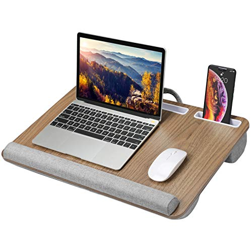 HNLD9 Lap Desk Fits up to 17 Inches Laptop - Brown Woodgrain