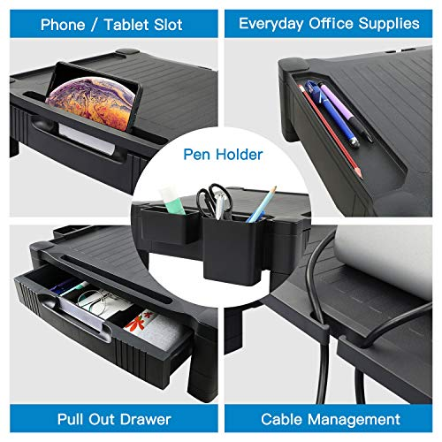 HNLA4 Monitor/Printer Stand Riser with Storage Drawer