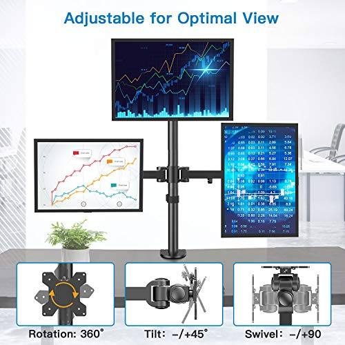 HNHM3 Triple Monitor Stand  for  13-27 Inch Screens