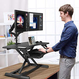 HNSSD6 Sit to Stand Desktop Height Adjustable for Dual Computer Monitors & Laptop
