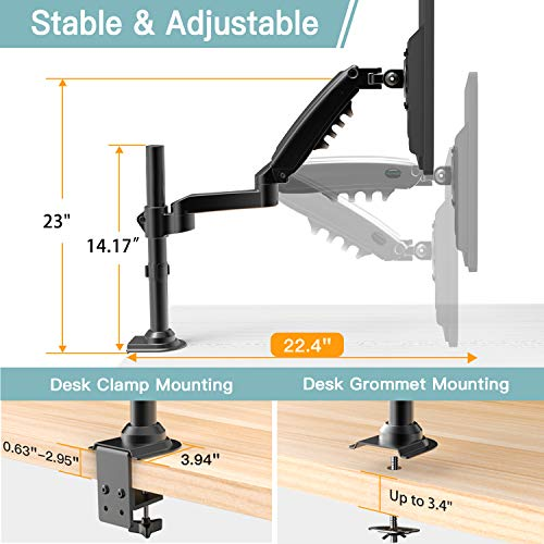 HNSS8 Single Monitor Stand - Gas Spring Single Arm Monitor Desk Mount Fit 17 to 32 inch Screens
