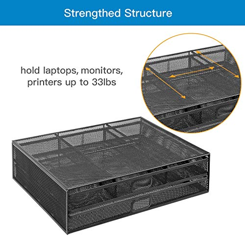 HNLM5 Monitor Stand Riser with Dual Pull Out Storage Drawer