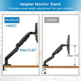 HNSS7 Monitor Mount Stand - Long Single Arm Gas Spring Monitor Desk Mount for 22 to 35 Inch