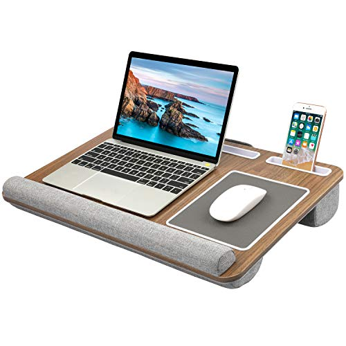HNLD6 Lap Desk Fits up to 17 Inches Laptop - Dark Brown Woodgrain