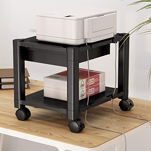 HNDPS Under Desk Printer Stand with Cable Management & Storage Drawers