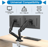HNDSK4 Dual Monitor Stand with Gas Spring Arms for 13-27 Inch Screens