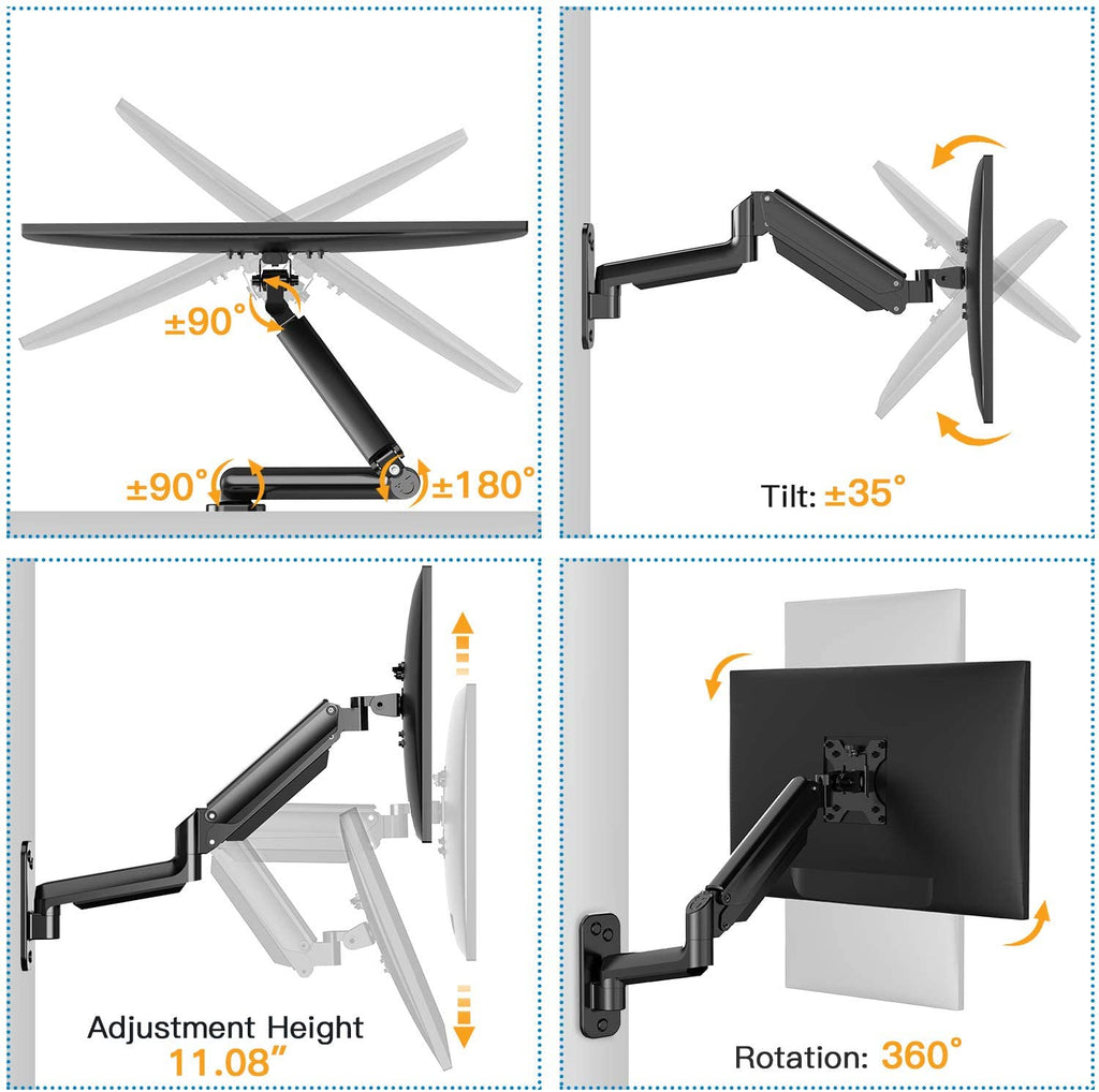 HNWSS1 Single Monitor Wall Mount with VESA Extension for 17-32 Inch Screens