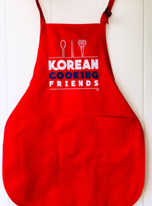 KOREAN COOKING FRIENDS APRON (4 colors) FREE SHIPPING USA Select RED, WHITE, ROYAL BLUE, or NAVY BLUE.