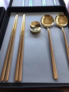 TAEGEUK GOLD SUJEO GIFT BOX SET (2 spoons, 2 chopsticks, 2 yin yang chopstick holders) Select GOLD, ROSE GOLD, BLACK, or BLUE