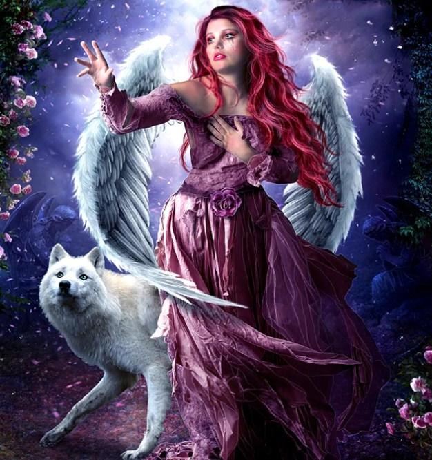 Angel Girl & White Wolf Diamond Painting