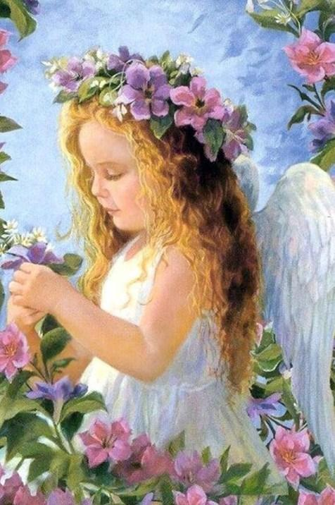 Angel Girl with Flowers Crown Diamond Painting