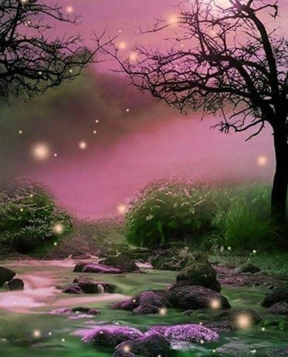 Beautiful Landscape & Fireflies Diamond Painting