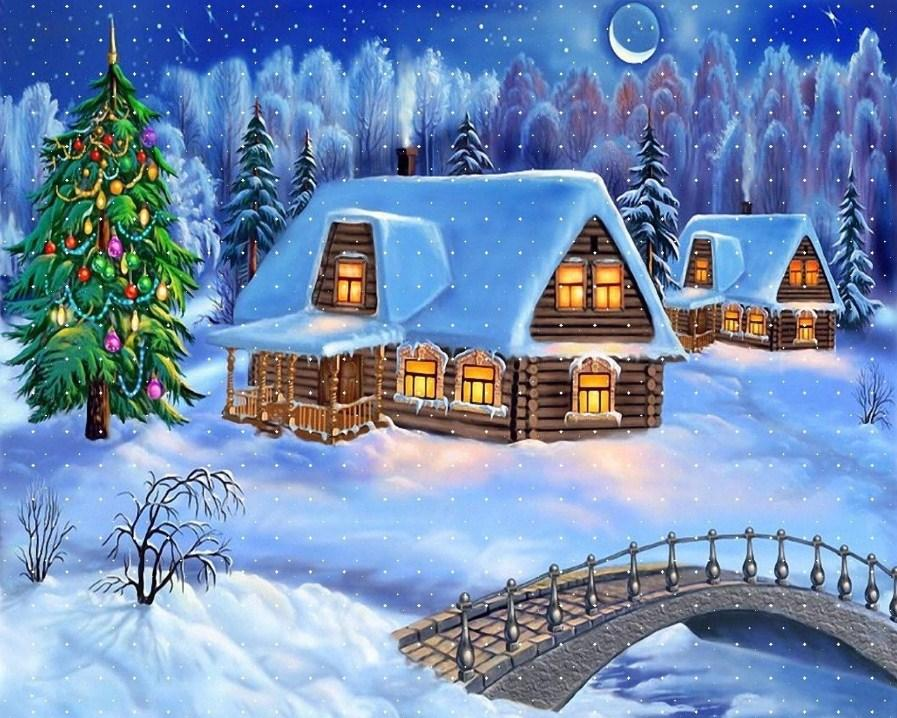 Snow Cottages & Christmas Tree Diamond Painting