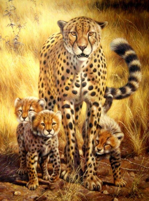 Cheetah Family Diamond Painting Kit
