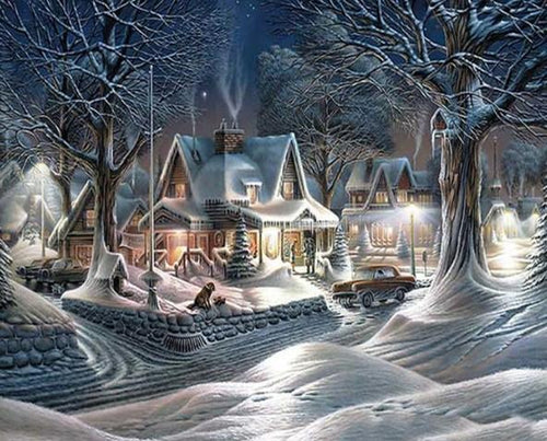Christmas Season Snow Scene Diamond Painting