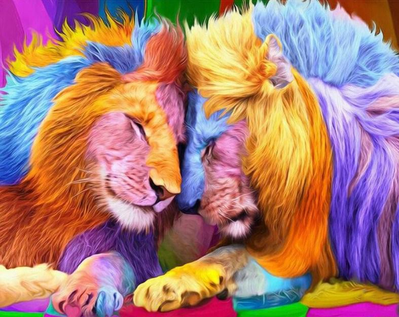 Colorful Lion & Lioness Paint by Diamonds
