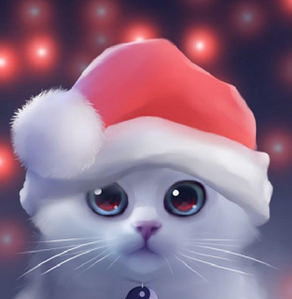 Cute Cat with Christmas Hat Diamond Painting