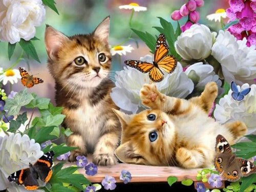 Kittens, Flowers & Butterflies Diamond Painting