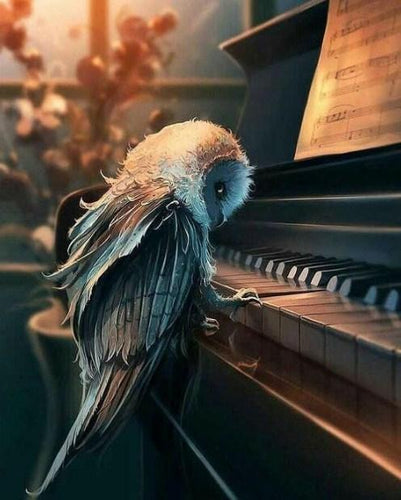 Owl Playing Piano Paint by Diamonds