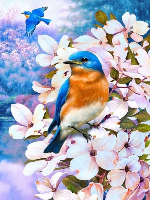 Pink Flowers & Blue Birds Pair Diamond Painting