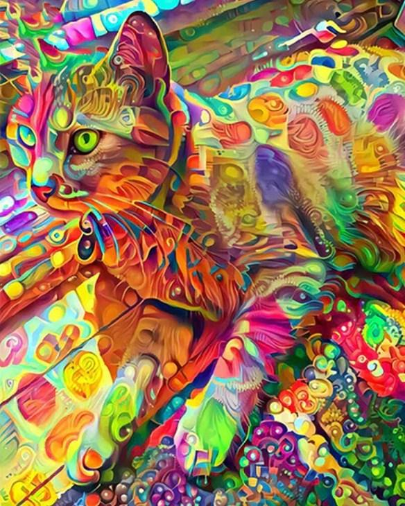 Psychedelic Cat Paint by Diamonds