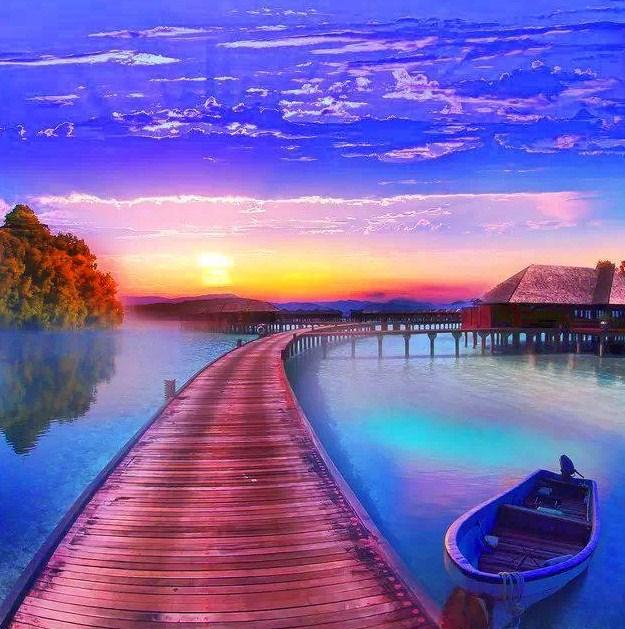 Resting Boat & Sunset View Paint by Diamonds