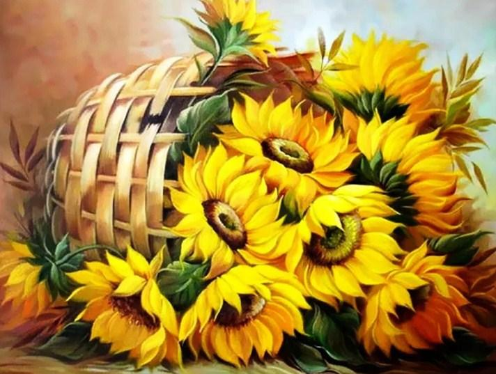 Sunflowers Basket Paint by Diamonds